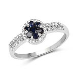 0.72 Carat Genuine Blue Sapphire and White Topaz .925 Sterling Silver Ring