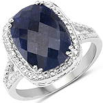 8.35 Carat Dyed Sapphire .925 Sterling Silver Ring