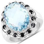 12.49 Carat Genuine Blue Topaz and Black Spinel .925 Sterling Silver Ring