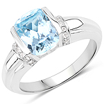 2.72 Carat Genuine Blue Topaz and White Topaz .925 Sterling Silver Ring