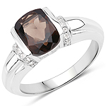 2.03 Carat Genuine Smoky Quartz and White Topaz .925 Sterling Silver Ring