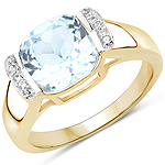 14K Yellow Gold Plated 3.62 Carat Genuine Blue Topaz and White Topaz .925 Sterling Silver Ring