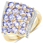 18K Yellow Gold Plated 2.00 Carat Genuine Tanzanite .925 Sterling Silver Ring