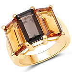"""14K Yellow Gold Plated 8.14 Carat Genuine Smoky Quartz, Citrine and Champagne Quartz .925 Sterling Silver Ring"""