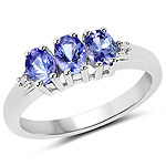 1.00 Carat Genuine Tanzanite and White Diamond .925 Sterling Silver Ring