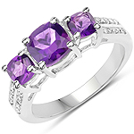 1.37 Carat Genuine Amethyst and White Topaz .925 Sterling Silver Ring