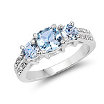 1.98 Carat Genuine Blue Topaz and White Topaz .925 Sterling Silver Ring