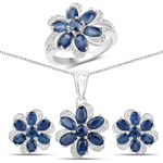 """6.05 Carat Genuine Blue Sapphire and White Topaz .925 Sterling Silver 3 Piece Jewelry Set (Ring, Earrings, and Pendant w/ Chain)"""