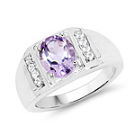 1.98 Carat Genuine Amethyst and White Topaz .925 Sterling Silver Ring