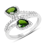 1.96 Carat Genuine Chrome Diopside & White Topaz .925 Sterling Silver Ring