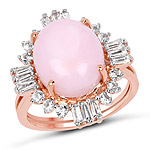 14K Rose Gold Plated 6.42 Carat Genuine Pink Opal and White Topaz .925 Sterling Silver Ring