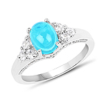 1.58 Carat Dyed Paraiba Opal and White Topaz .925 Sterling Silver Ring