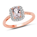 14K Rose Gold Plated 1.05 Carat Genuine Morganite and White Topaz .925 Sterling Silver Ring