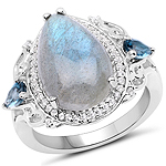 """6.18 Carat Genuine Labradorite, London Blue Topaz and White Topaz .925 Sterling Silver Ring"""
