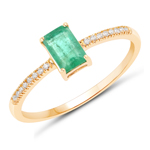 0.60 Carat Genuine Zambian Emerald and White Diamond 14K Yellow Gold Ring