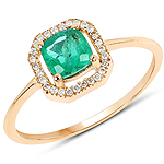 0.63 Carat Genuine Zambian Emerald and White Diamond 14K Yellow Gold Ring