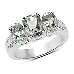 2.60 Carat Genuine Green Amethyst .925 Sterling Silver Ring