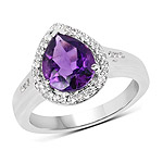 1.77 Carat Genuine Amethyst and White Topaz .925 Sterling Silver Ring