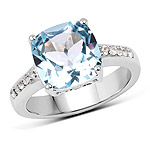 4.62 Carat Genuine Blue Topaz and White Topaz .925 Sterling Silver Ring