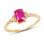 1.02 Carat Genuine Ruby and White Diamond 14K Yellow Gold Ring
