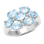 3.61 Carat Genuine  Blue Topaz and White Topaz .925 Sterling Silver Ring