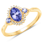 0.94 Carat Genuine Tanzanite and White Diamond 14K Yellow Gold Ring