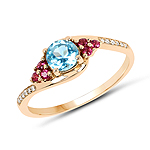 """0.76 Carat Genuine Swiss Blue Topaz, Pink Tourmaline and White Diamond 14K Yellow Gold Ring"""