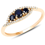 0.47 Carat Genuine Blue Sapphire and White Diamond 14K Yellow Gold Ring