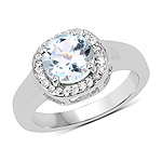 2.37 Carat Genuine Blue Topaz and White Topaz .925 Sterling Silver Ring