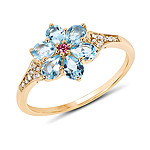 """1.09 Carat Genuine Swiss Blue Topaz, Pink Tourmaline and White Diamond 14K Yellow Gold Ring"""