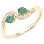 0.34 Carat Genuine Zambian Emerald and White Diamond 14K Yellow Gold Ring