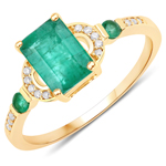 1.08 Carat Genuine Zambian Emerald and White Diamond 14K Yellow Gold Ring