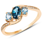 """0.99 Carat Genuine London Blue Topaz, Swiss Blue Topaz and White Diamond 14K Yellow Gold Ring"""