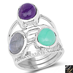 4.00 Carat Genuine Multi Stone .925 Sterling Silver Ring