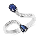 0.77 Carat Genuine Blue Sapphire and White Diamond 14K White Gold Ring