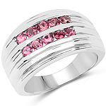 1.00 Carat Genuine Pink Tourmaline .925 Sterling Silver Ring