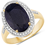 6.22 Carat Dyed Sapphire and White Diamond 14K Yellow Gold Ring