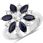 2.28 Carat Genuine Blue Sapphire and White Zircon .925 Sterling Silver Ring