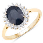 2.20 Carat Genuine Blue Sapphire and White Diamond 14K Yellow Gold Ring