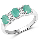 0.90 Carat Genuine Emerald and White Topaz .925 Sterling Silver Ring