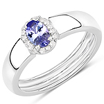 0.54 Carat Genuine Tanzanite and White Zircon .925 Sterling Silver Ring