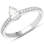 14K White Gold 0.67 Carat Genuine White Diamond Ring