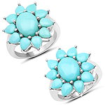 5.20 Carat Genuine Turquoise .925 Sterling Silver Ring