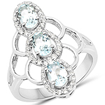 1.54 Carat Genuine Aquamarine and White Zircon .925 Sterling Silver Ring