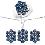 """7.80 Carat Genuine Blue Sapphire .925 Sterling Silver 3 Piece Jewelry Set (Ring, Earrings, and Pendant w/ Chain)"""