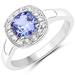1.50 Carat Genuine Tanzanite and White Topaz .925 Sterling Silver ring