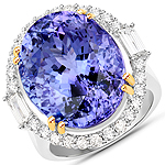 26.35 Carat Genuine Tanzanite and White Diamond 18K White Gold Ring