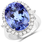 17.82 Carat Genuine Tanzanite and White Diamond 18K White Gold Ring