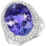 22.10 Carat Genuine Tanzanite and White Diamond 18K White Gold Ring