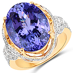 15.11 Carat Genuine Tanzanite and White Diamond 18K Yellow Gold Ring